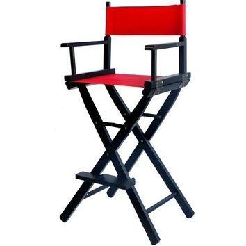 Professional Makeup Artist Director Chair Black Finish with Canvas Folding Wooden Makeup Lightweight Foldable Director Chair