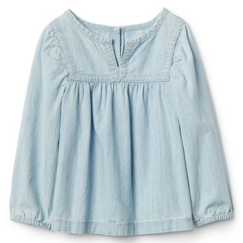 Chambray Split-Neck Top|gap