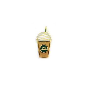 Frap Happy Hard Enamel Lapel Pin in Mocha