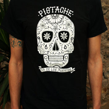 SUGAR SKULL T SHIRT black top mens screen printed clothing folk art fabric mexican native american aztec 80s 90s custom tattoo retro hip hop