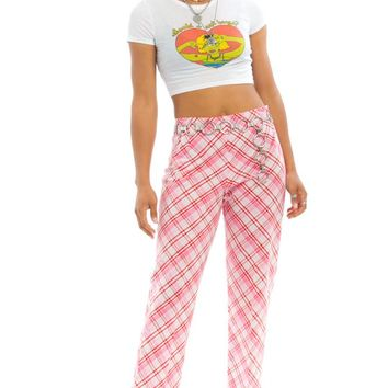 Vintage 90's Strawberry Plaid Trousers - L