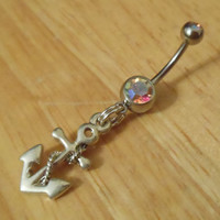 Belly button ring - Silver Anchor belly button ring