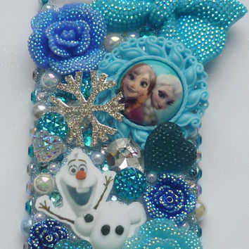 blue frozen phone case for i phone 4 4s 5 5s 5c 6 queen elsa oalf blue rose swarovski style crystals snowflake blue hearts blue phone case