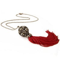 Red Long Tassel Necklace, Ethinc Pendant Necklace, Red Long Tribal Necklace