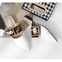 FENDI Summer Popular Women Casual Pointed Sandal Slipper Shoes White