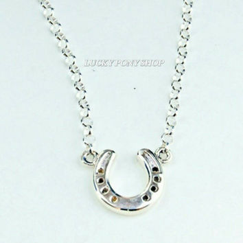 Sale! Horseshoe necklace,Sterling silver horseshoe necklace,equestrian jewelry,sterling silver horseshoe, horse,horseshoe art,Luck Pony Shop