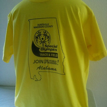 11-1204 Vintage 80s SCREEN STARS  Alabama Special Olympics T Shirt / Thin T Shirt / Lemon Yellow T Shirt / Size M