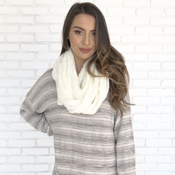 Cozy Knit Infinity Scarf in Ivory