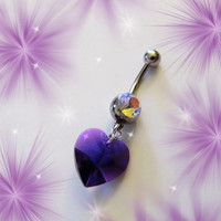 SALE- Belly Ring, Luscious Purple Crystal Heart Belly Button Navel Ring, Belly Button Jewelry for Her