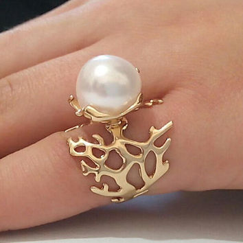 Gold Engagement Ring Gold Pearl Ring,14 k Gold Ring,Gold Engagement Rings,Gold Promise Ring