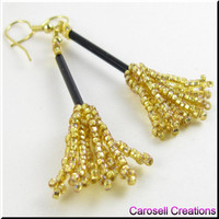 Witch's Broom Halloween Holiday Beadwork Seed Bead Earrings