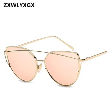 2019 metal Sunglasses Women Luxury Cat eye Brand Design Mirror  Rose New Gold Vintage Cateye Fashion sun glasses lady Eyewear