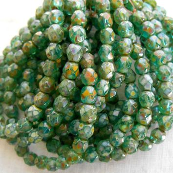Lot of 25 6mm Czech glass, Opaque Aqua firepolished, faceted round picasso, spatter beads, C1825