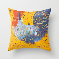 """mista roosta""  Rooster Rooster Throw Pillow by Jennifer Pennacchio"