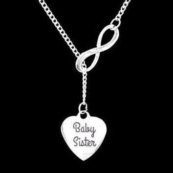 Baby Sister Gift For Little Sister Infinity Lariat Necklace
