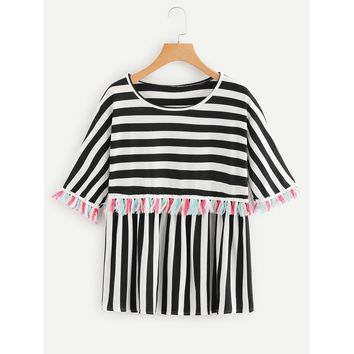 Fringe Trim Striped Tee