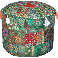 Bohemian Indian Ottoman Pouf chair Patchwork Pouf Cocktail Living Room bean bag Hassock Cover floor seat stool cover furniture pouffe cover