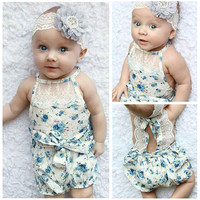 Newborn 2016 party Bebe princess girl baby Onesuit Toddler props baby shower clothes Rosette kids lace up bubble rompers
