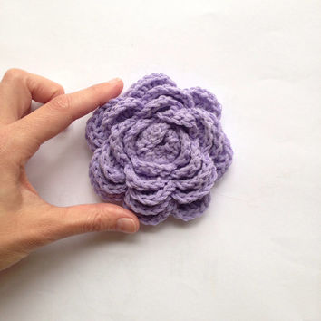Lavender Purple Brooch Brooch, Crochet Rose Brooch Pin, Bridesmaid accessory, Gift for her, brooch pin, Pastel purple handmade by VeraJayne