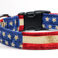 USA Flag Dog Collar - Adjustable Collar