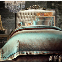 4/6pcs Green Jacquard Satin bedding set king queen Luxury duvet cover bed linen