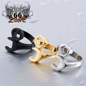 Route66 Zone Biker Mechanic Wrench Stainless Steel Men's Ring Size 8-13