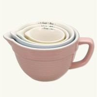 BATTER BOWL MEASURING CUPS (SET OF 4) - Stoneware Nesting Cups, Pastel Measuring Cuups