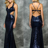 Colors 1583 Sequin Side Cutout Prom Evening Dress