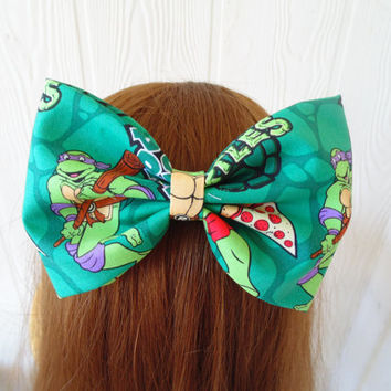 TMNT hair bow , girls hair bow , turtle hair bow , stocking stuffer , hair bow , Teenage Mutant Ninja Turtles Hair Bow , Ninja Turtles bow