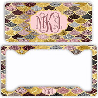 Rose Gold Silver Mermaid License Plate Car Tag Monogram Frame Personalized Set Custom Initials NOT ACTUAL GLITTER Mermaid Scales