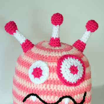 Girls Monster Hat, Baby Girl Crochet Hat, Toddler Knit Hat, Girls Silly Beanie, Pink Monster Striped Hat, Summer Character Hat, Infant Hat
