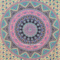 Twin Size Bohemian Mandala Wall Tapestry, Indian Hippie Bedding on RoyalFurnish.com