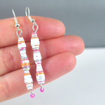 Handmade Earrings Bright Colourful Paper Beads Recycled Vegan Jewellery Makeforgood
