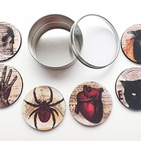 Halloween Home Decor Gift Set Coasters 3.5 inch round neoprene skull anatomical heart black cat raven spooky goth