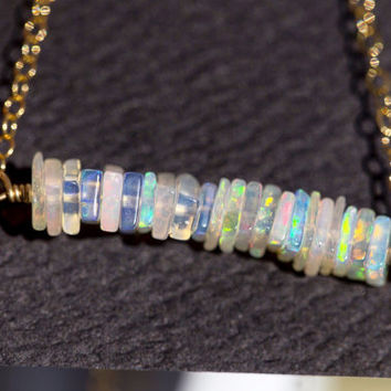 "Amazing Square Bead Opal Necklace on Gold filled or Silver Chain 16"" or 18 in"