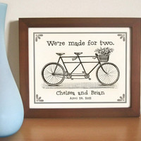 Personalized Wedding Gift Art Print Bicycle for Two by DexMex