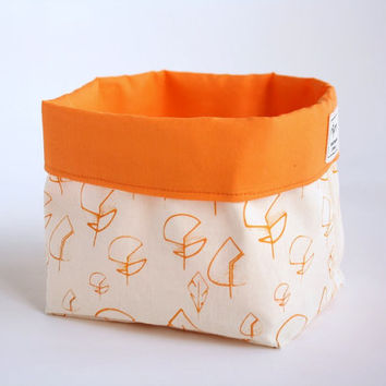 Bread Basket - Desk organizer - frabric bin for storage or table - screen printed with leaves in orange, olive green or chocolate  brown