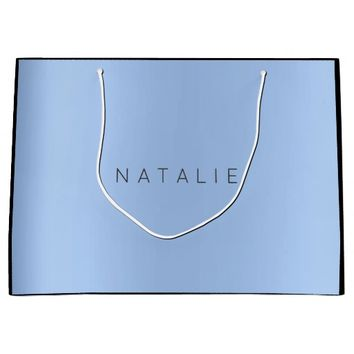 Name Tiffany Baby Blue Pearly Minimal Gift Large Gift Bag