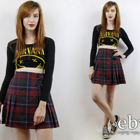 Vintage 90s Grunge Skirt XS Plaid Mini Skirt Tartan Plaid Skirt 90s Skirt Schoolgirl Skirt Skater Skirt Red Plaid Skirt Pleated Skirt