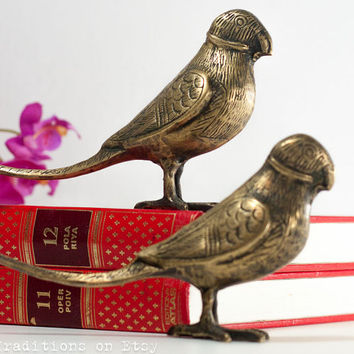 Parrots Figurines Bird Sculptures, Vintage Brass Figurines, Home Decor, Gift for Her