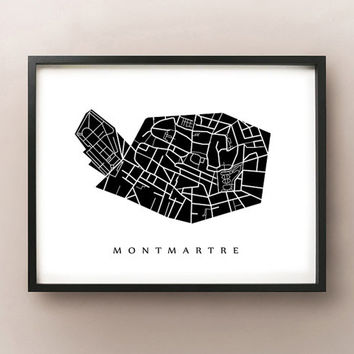 Montmartre Map - Paris District Art Print