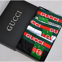 GUCCI New fashion men letter stripe bee embroidery underwear four-corner A box of briefs three color