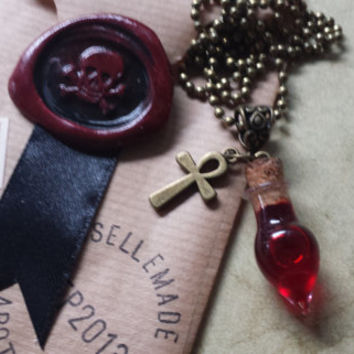 Vampire Blood Vial Necklace - Glass Bottle Pendant - Ankh