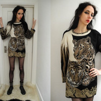 80's knitted cream/brown/ black and gold long sleeve tiger dress/jumper.