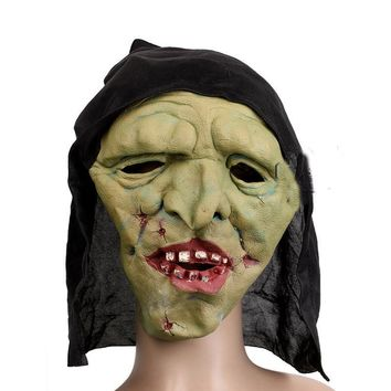 Scary Latex Full Face Cosplay Mask Horror Green-faced Witch Masquerade Adult Ghost Halloween Costume Fancy Carnival Party Prop