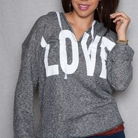I'm in love with ... DEREK PLUS Love Screen Printed Plus-Size Terry Pullover Hoodie - Charcoal