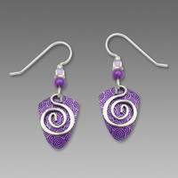 Adajio Earrings - Violet Shield with Silver Plate Wire Spiral