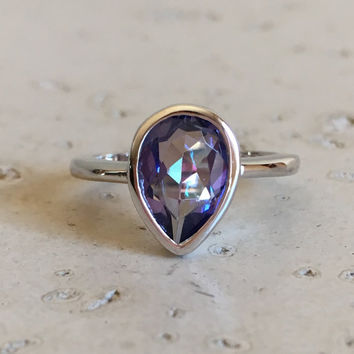 Pear Shape Mystic Topaz Ring- Rose Gold Ring- Gemstone Ring- Promise Ring for Her- Stack Ring- Unique Ring- Sterling Silver Ring