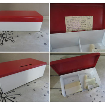Metal File Red and White File Recipe File Recipe Box Large Recipe Box Vintage Kitchen Retro Box Metal Box Storage Box Red Box Card File Box