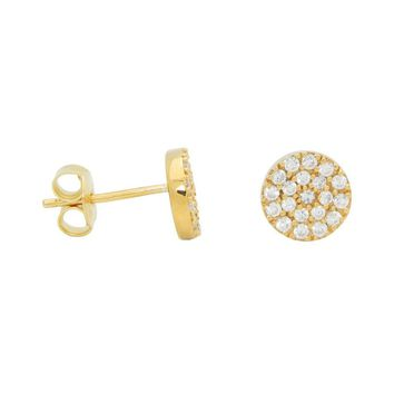 Silver Gold Plated Pave Cz Disc 8mm Stud Earrings